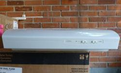 Broan Allure range hood. Two speeds, two lights.  White, no scratches or dents.