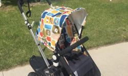 This top of the line stroller has every bell and whistle you could ever want. Paid over $1000 for the base & $200 for the limited edition Paul Frank fabric. Wheel board included, paid $130 extra. Also includes a brand new fabric set in black never used,