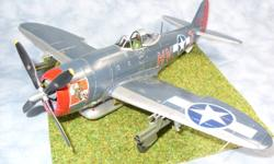 This is a 1/48 scale Tamiya P-47M Thunderbolt model.  This model has been built Out-Of-The-Box, which means there have been no added extra parts.  The finish is airbrushed, and the kit is mounted on a basic base, and includes a plastic display case.  I