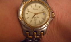 Bulova Mens Watch $150.00 Gold Plated Crystal face