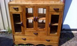 """Old piece changed into a stereo cabinet, no glass in middle.doors and back has been cut out for cords. Size 41 1/4"""" x 14 1/2"""" x 40 1/8"""".  Solid wood."""