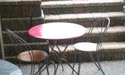 Small table with four stackable chairs (only 2 pictured). Used as an apartment dining room table in the past. Table has been repainted watermelon pink (solid wood top). All originally purchased from ikea. This ad was posted with the Kijiji Classifieds