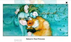 "This is a 16.5"" by 33.5"" museum mounted canvas print. The picture is Nature's Tree Princess by Camilla D'Errico and it is mounted by Eyes on Walls. Retail price even now is $149 (without shipping and taxes). In excellent condition. Great for an animal"