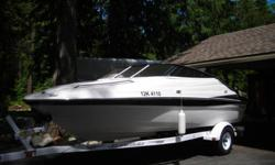 As new, without the new price! Less then 100 hours - cuddy cabin, porta-potty, stereo, 5.0L MPI Mercruiser, Bimini top and new EZ Loader Trailer; always serviced and maintained with receipts.  Don't miss out! Asking $21,000.00 Call: #(250) 551-6141