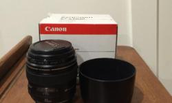 Canon 85mm f1.8 in great shape. Comes with the lens, hood, and box. This is one of Canon's underrated primes and takes great pictures. Lens very rarely used as I have many others in my bag.
