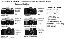Six Canon Films cameras for sale.
