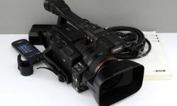 Canon HX A1 is in great working condition. There is a small defect in the body where the external mic holder mounts. See photograph... the external microphone holder needs screws.