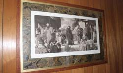 VERY NICE FRAME, MATTING, TRIM AND PRINT. LOTS TO LOOK AT AND ADMIRE. GREEK OR ROMAN SCENE OF WOMEN AND CHILDREN AROUND A WELL.