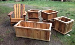 I have asst cedar planters from $25 and up also Adirondack chairs and love seats from $110,raised beds,picnic tables bird houses and more,will also build custom projects,all boxes are tongue and groove glued and screwed
