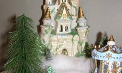 Beautiful magical Christmas castle. Looks great in Christmas Village scenes.