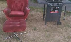 1. Comfy red easy chair with matching foot rest. 2. Propane bbq - needs some TLC For free outside 567 Agnes Street