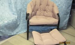 Small chair with ottoman. Ideal for the basement , kids room or cottage.