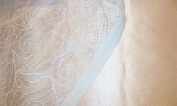 1.5 m x 150 cm wide champagne pink satin for bridesmaid or prom dress. Client changed her mind on color, so this is available for sale as a new piece of fabric, or I will sew it up for you in a dress of your choice. Shown with white lace only as a