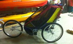 Aluminum frame light weight. Has attachment to pull behing bicycle as well. Good shape, very well built. Must sell this week