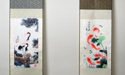 Very lovely and beautiful Chinese oriental classic paintings prints on silk. Easy hanging on walls, lightweight, long-lasting, easy wrap-up and storage. In original gift packing box. 30*100 cm. Come with a very beautiful free small message card! Great