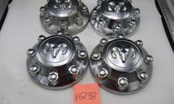 Set of 4 - used chromed wheel centres for 2014-17 Dodge 2500/3500 truck. 2 are nearly perfect, 2 are scratched but usable. $35 each. $100 for the set.