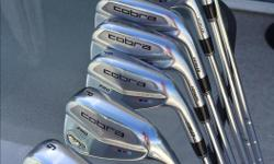 Cobra Pro Amp Cell Irons. Mens Right Hand. 4 iron to Gap Wedge, including Pitching Wedge (8 irons). These irons are forged, offering great feel on all shots. Some perimeter weighting makes them more forgiving than pure blades, but the muscle back ensures