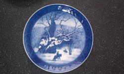 "This is a very Collectible Blue ""Dutch"" Plate For Sale. This plate is 1967 and belonged to my grandmothers ""Dutch"" plate collection. This plate is known as ""Snowy Forest Cowboy"""