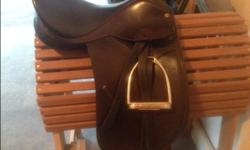 Great condition, comes with stirrups and leathers, chocolate brown colour. Would suit junior rider or small woman. (778)426-1074.