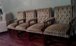 I have 4 arm chairs, very comfortable, can be used for office, dining, or living room. Should be reupholstered and springs are gone in one of them. $25 for set of 4. Great deal! I have a conference table that also can go as a set. Table can also be used