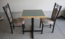 """Heavy duty iron frame table and chairs Tables tops are 1.5 inch thick wood. - Qty 5 large tables (28""""W x 46""""L x 30H) at $100 each - Qty 4 small tables (28""""W x 24""""L x 30""""H) at $50 each Chairs have a heavy iron frame and the seat base is 18"""" high. - Qty 26"""