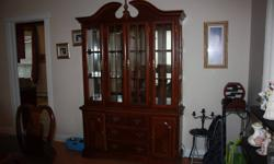 Dining room Set & Cabinet with display lights ( REDUCED by over $2000 ) Includes a custom Cover Paid $3199 plus tax. Now only 949:00 Table (Extended) and Chairs with high back only $588:00 CASH ONLY--NO PAYPAL -- NO OUT OF TOWN BUYERS OR LOW BALLERS. I