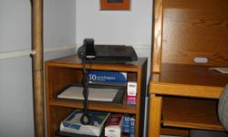 Computer desk, Mint condition, 2 shelves  2 side drawers, pull out for keyboard,  built in desk lamp, cupboard for storage  and separate compartment for tower.   Also included is matching printer stand.   Paid 269.00. Elderly couple moving to a small