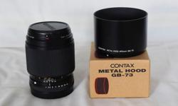 For contax 645 system. 120/4 Zeiss lens plus hood and contax P filter.