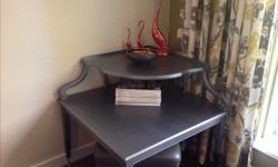 """Silver corner two tier table. Very detailed woodworking. 30"""" X 30"""" X 31""""h. Located in Campbell River."""