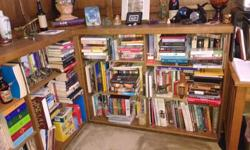 """Dark brown, oak wood, (2 piece) custom-made corner bookshelf. In great condition, with adjustable shelves. Great for a den or office. Downsizing, unfortunately won't fit into condo. Length: 61"""" (both sides) Width: 12.5"""" Height: 39"""""""