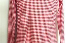 """Cotton Ginny - Long Sleeve Top - 100% cotton, red / pink / white checker board pattern - size M, shoulder: 16"""", bust: 38-40"""", waist: 34-36"""", length: 26"""", sleeve length: 24"""" - like new, in excellent condition - $5 firm"""