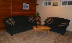 Hunter green couch and love seat for sale - excellent conditon - very comfortable - (non smoking pet free home)