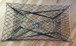 "Stainless steel folding crab trap 34x20x12"" like new condition."