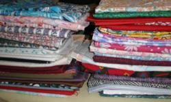 """Assorted fabrics in various lengths and widths.  Assorted reasonable prices.  Email for viewing in Courteany.   Also have assorted golf towels ~8"""" x 12"""" - $1.50 each."""