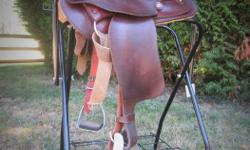 """Crates 15.5"""" Trail Saddle. A super cute rounded skirt saddle perfect for trail riding, complete with wide comfy trail stirrups. A nice light weight at 21lbs. Perfect for the short backed horse with a length of 23"""". This saddle was used on Welsh Cobs, as"""