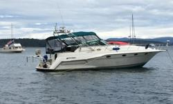 This boat has all the bells and whistles 14.5' beam, overall 40' long, 1600hrs on twin 454's with corkscrew drives, full camper Canvas, new upholstery, generator, A/C, 8.5' inflatable with 9.9, dingy lift on stern and the list goes on a must see if you