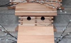 Beautiful custom made bird houses, designs that will house and attract a variety of our local birds. Small $30.00 Medium $60. Large $100. Located in Mill Bay