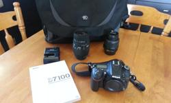 The camera was purchased as a gift and I have decided to switch back to Canon instead. This camera has only been used a handful of times. In new condition. Selling as a lot. Included: Nikon Body Lens: Nikon DX 18 to 55mm Lens: Sigma 70 to 300mm Camera