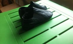 """""""So Danca"""" brand. Good condition. Black and med width. Leather. Made in Brazil. Accidently bought the wrong size and was unable to return them, so never worn by my son."""