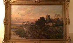 Untitled, 19th century parish church at sunset, oil on canvas (59.5 x 90 cm). Signed D. Sherrin, lower left. In large gilt frame. Less than appraised value.