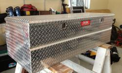 This box is in great condition. We bought a short box truck and so the box no longer fits. Here is a link to the description: http://www.deezee.com/products/400/Truck_Tool_Boxes/Truck_Tool_Box_Chests/Red_Label_Fifth_Wheel_Utility_Chest.html You can see