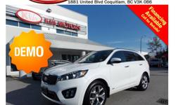 Trans Automatic DEMO 2016 Kia Sorento SX AWD 7 Seats comes fully equipped with alloy wheels, fog lights, tinted rear windows, leather interior, push start engine, panoramic sunroof, Navigation, Bluetooth, backup camera, A/C, AUX & USB input ports, SIRIUS