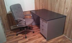 desk and chair, gray in colour, nice