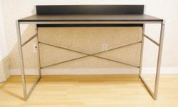 """Desk - metal frame, silver finish - black desk top - with cable wire hole - L47-1/4"""" x W23-1/2"""" x H32-7/8"""" - used, in good condition, has some scrub marks from cleaning off spilled paint (see photos for condition). Assembled - $100 firm Meet at oakridge"""