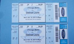 FORD FIELD, LOWER LEVEL DETROIT LIONS TICKETS      2 tickets side by side, Section 123, row 35, seats 7 and 8...great seats, not on the isle (good thing) close to the smoking area, beer (good thing) and bathrooms (real good thing).   First come first