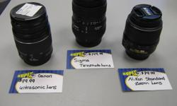 """Big Dons Super Pawn   Come on down to Big Dons Super Pawn and get your """"Photo Sesh On""""   We have the following three lenses for sale: *all item's in the store are an additional 10% off from Dec 1st - Dec 23rd, 2011.*     Canon Ultrasonic 28-88mm with"""