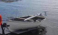 Dinghy boat in excellent shape, barely used and well cared for. Best for lake fishing. Oars/paddles , trust motor, boat chair, life vest, plus other accessories all included. Trailer also is in excellent shape, galvanized. This dinghy boat would make an