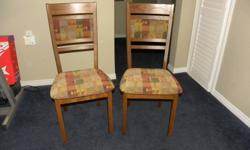 Two dining room chairs, hardly used, in excellent condition. Call 519 280 1064 if interested.