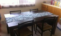 """JYSK Dining Table w/ 4 chairs 63"""" long x 35.5"""" wide"""