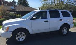 Make Dodge Model Durango Year 2004 Colour White kms 205 Trans Automatic Great vehicle inside and out, 1 tiny tear in drivers seat from getting in and out. Body is in good shape. Well looked after, garage maintained.